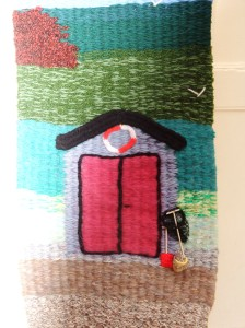 Beach Hut Wall Hanging - Hand woven on a peg loom using various types of commercial yarn. Lesley Bone