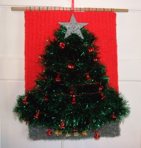 Christmas Tree Wall Hanging - Hand woven on a peg loom using green tinsel and commercial yarn. Lesley Bone