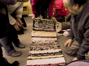 Handwoven woollen rug by Anne-Marie