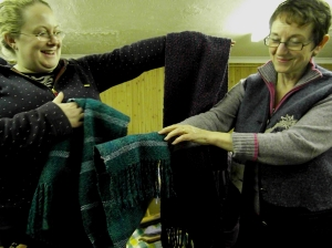 More handwoven scarves by Margaret Brooker (right)