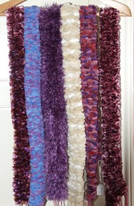Scarf collection - Scarves were made from various commercial yarns woven using weaving sticks. Lesley Bone